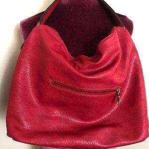 Red Hobo Bag with Goldtone Hardware